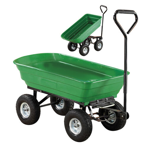 New Garden Heavy Duty Utility 4 Wheel Trolley Cart Dump