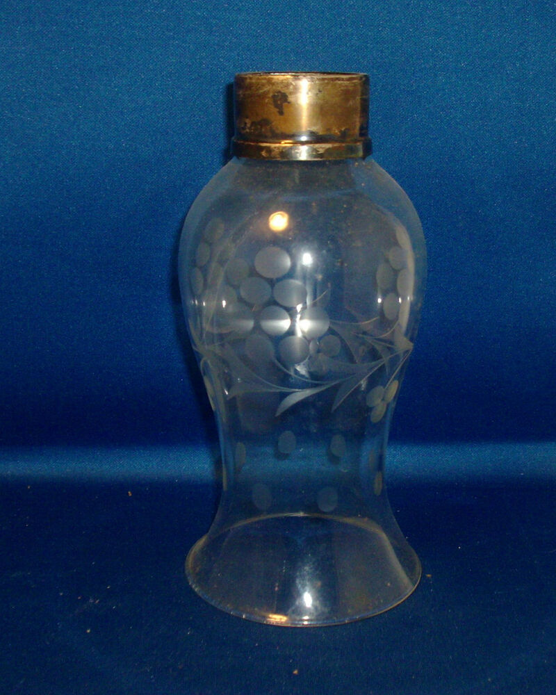 Etched Metal Lamp Shade: Vintage Etched Glass Candle Shade With Metal Mount Cap At