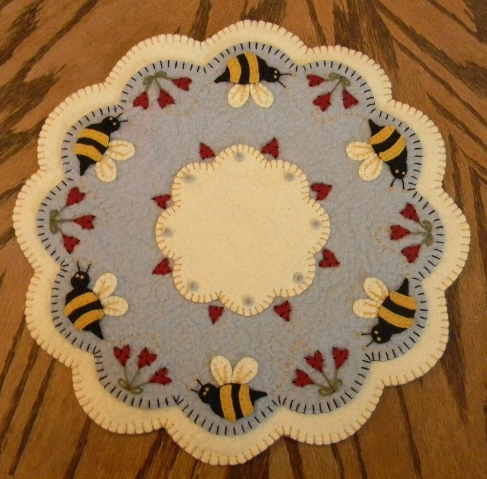 Bee my honey bee spring summer penny rug candle mat for Penny coasters