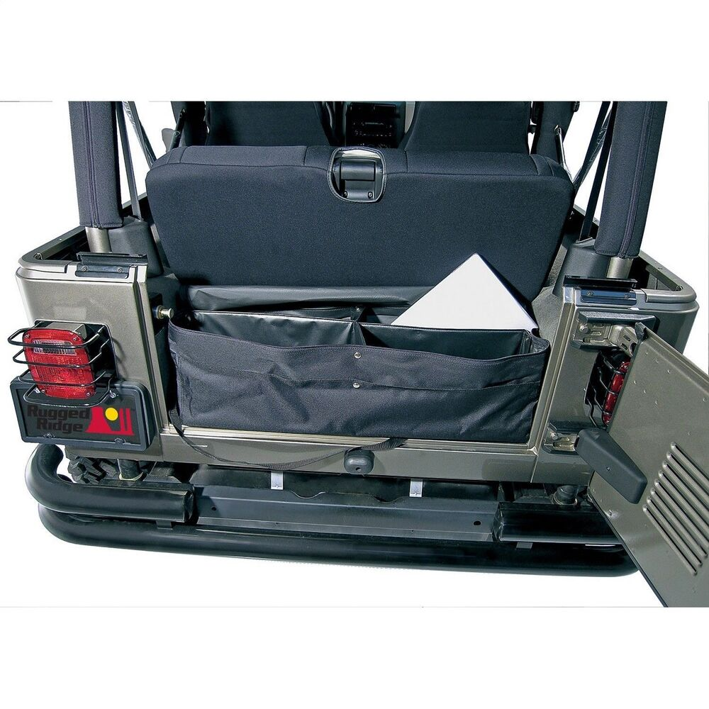 rear storage bag jeep cj wrangler yj tj jk suv rugged ridge ebay. Black Bedroom Furniture Sets. Home Design Ideas