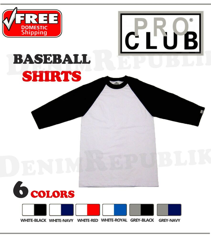 Pro tag 100 cotton 3 4 sleeve raglan baseball shirt in white black - Pro Club Baseball Mens T Shirt 3 4 Sleeve Black Grey Red Royal Raglan