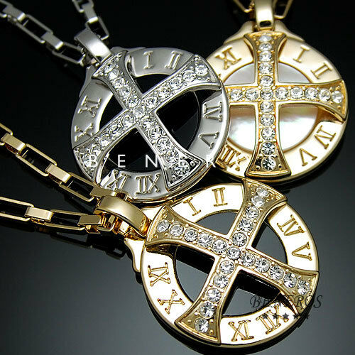 Sun Celtic Cross Roman Numeral Pendant Necklace Gold