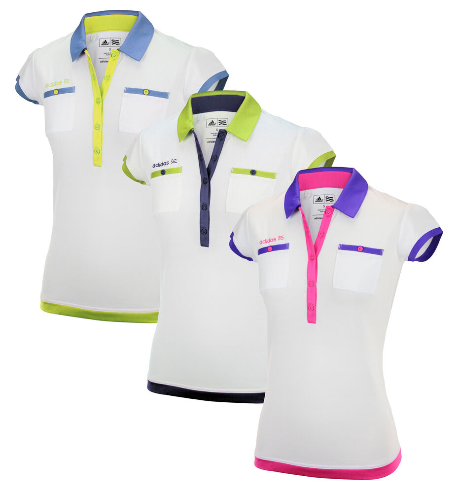 Adidas womens fp short sleeve white based golf pocket polo for Pocket tee shirts for womens