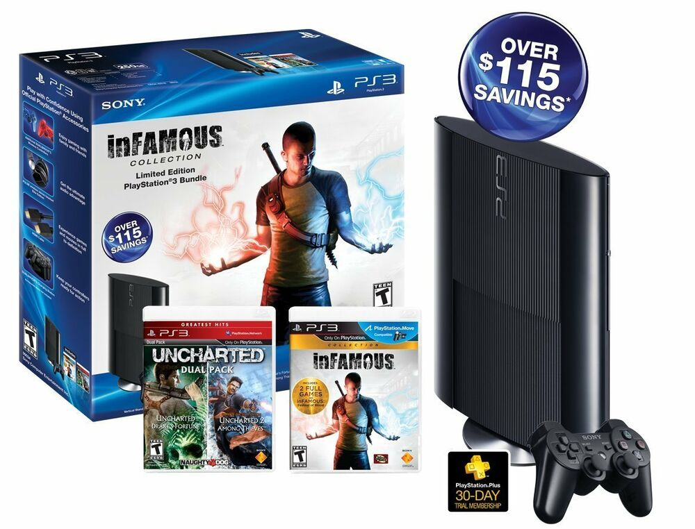 Sony Playstation 3 (PS3) Super Slim 250GB inFamous/Uncharted Black Friday Bundle 711719990345 | eBay