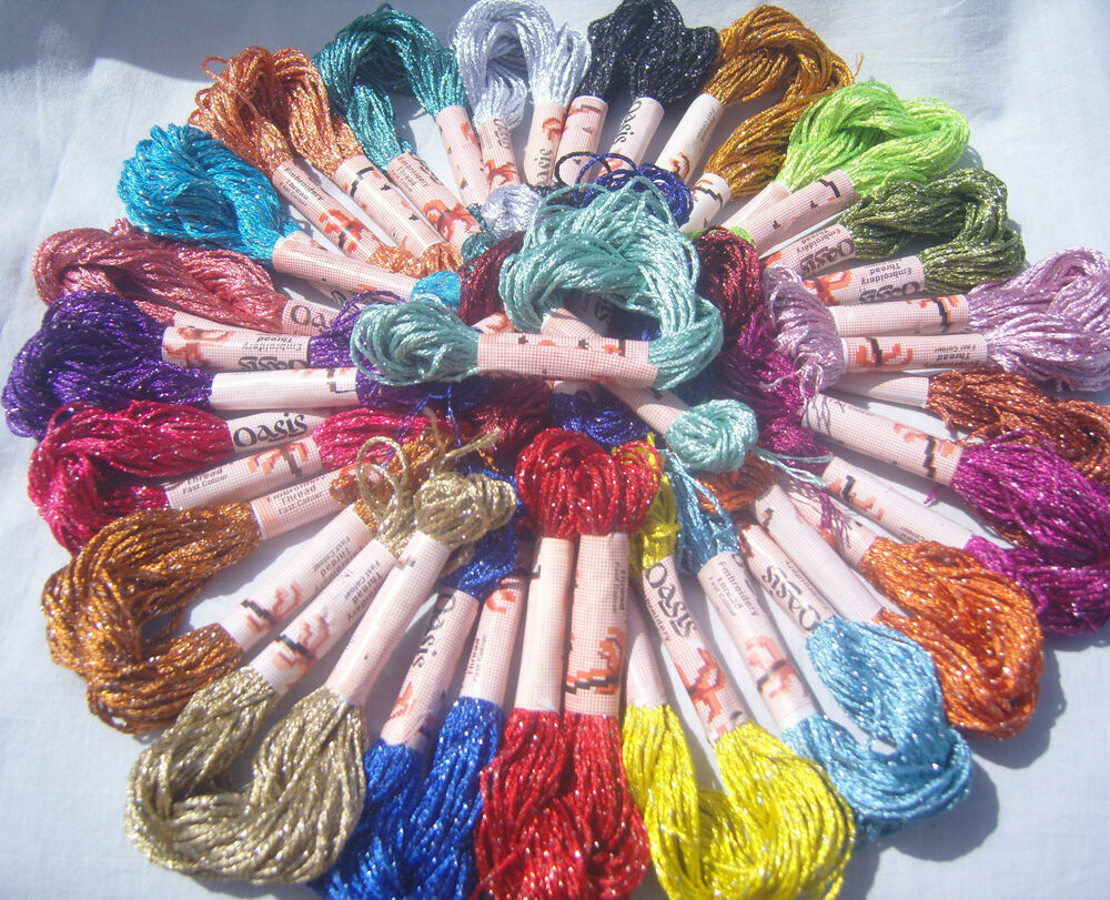 25 Skeins Large Silk Stranded Glitter Twisted Embroidery Threads 25 Dif. Colours   EBay