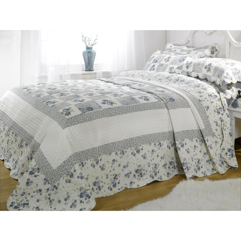 Double Blue Floral Patchwork Quilted Bedspread Throw 2