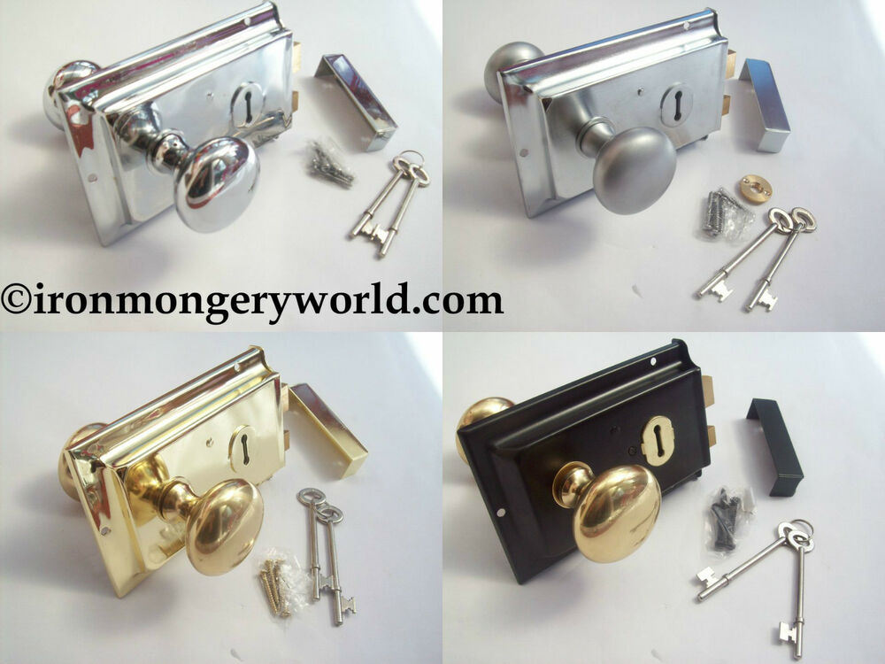 Traditional Old Victorian Style Rim Door Lock Knob Handle