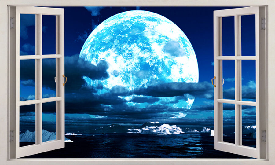 60x100cm blue moon 3d window view removable wall art for Blue moon mural
