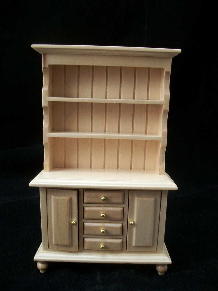 Kitchen oak hutch cupboard t4296 miniature dollhouse furniture wood 1 12 scale ebay Dollhouse wooden furniture