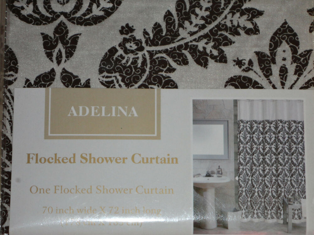 black gray tan damask scroll paisley shower curtain grey new ebay. Black Bedroom Furniture Sets. Home Design Ideas