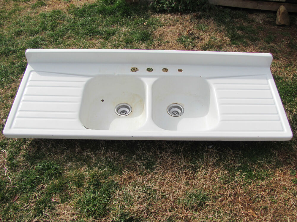 double drainer ceramic kitchen sinks antique enamel porcelain farm house sink drainboard 8804