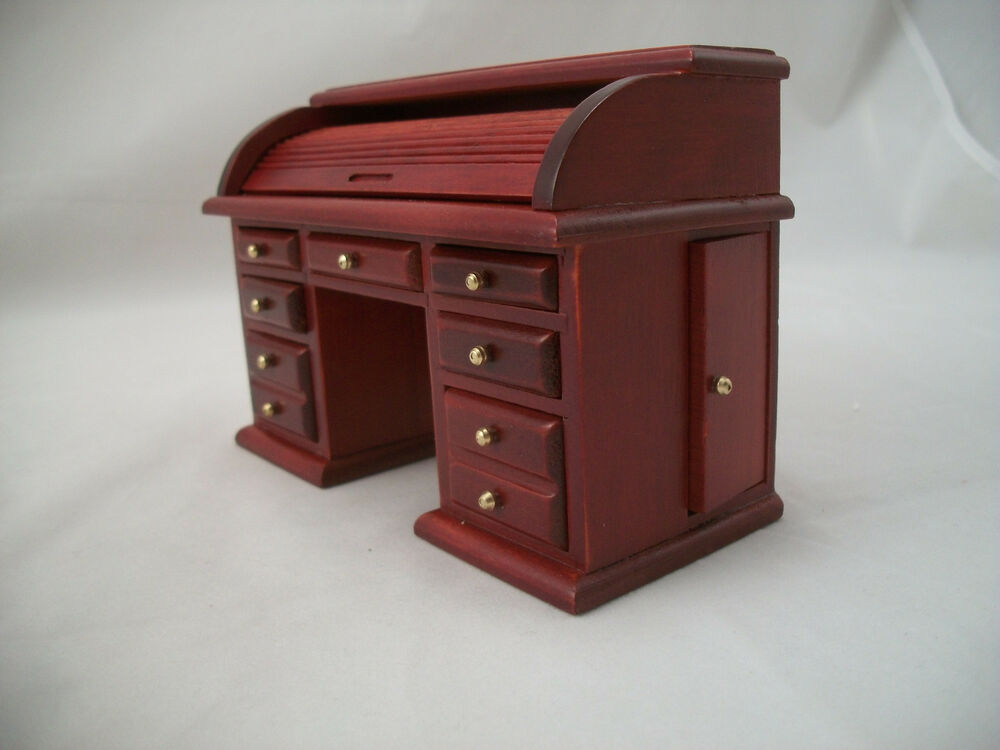 Desk roll top miniature dollhouse wooden furniture t3434 1 12 scale ebay Dollhouse wooden furniture