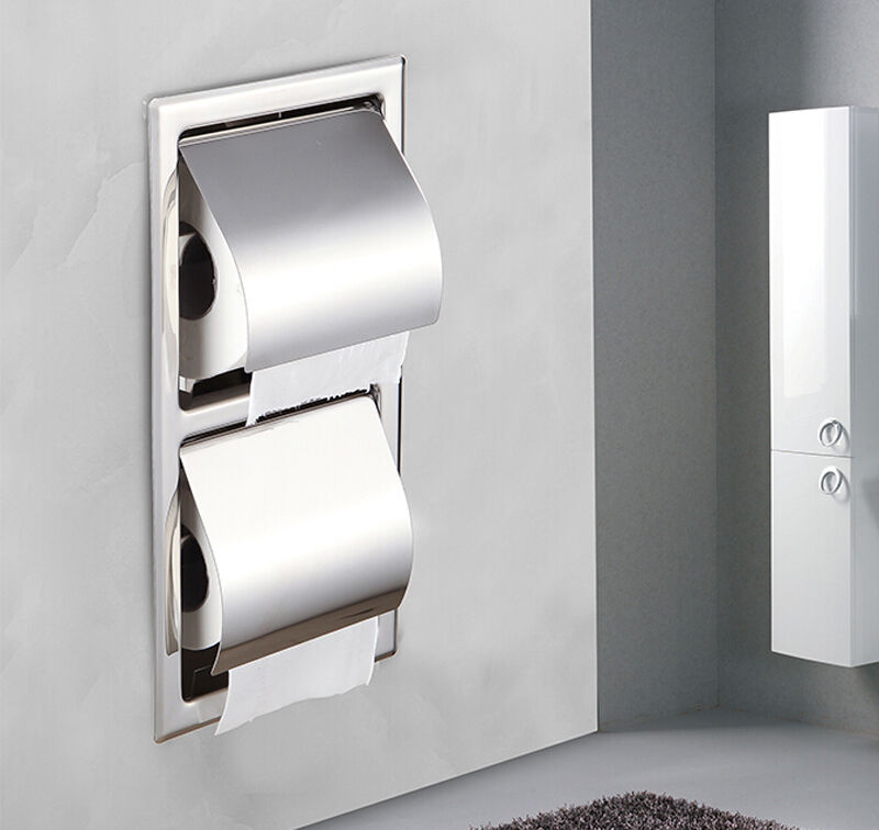 Chrome Finish Recessed Toilet Double Roll Paper Holder Box