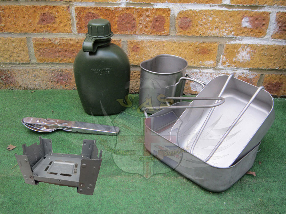 Dutch Army Surplus Stainless Mess Tins Water Bottle Cup
