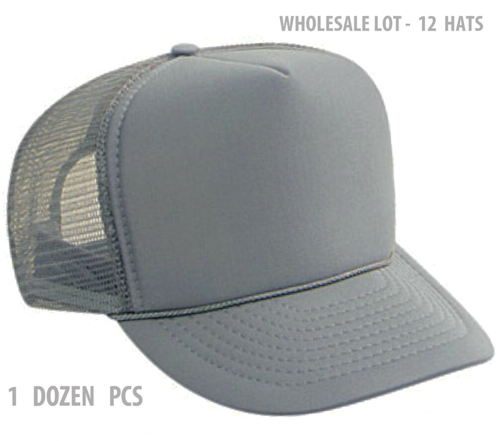 Details about 1 Dozen Classic Trucker Hats Solid Gray Foam Grey Mesh Hat  Caps Wholesale NEW 47864dfe5b3