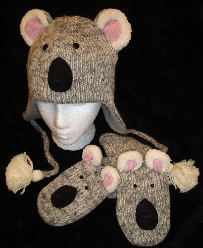 Special Ed deLux ~ KOALA bear HAT & MITTENS SET knit ADULT costume FLEECE...