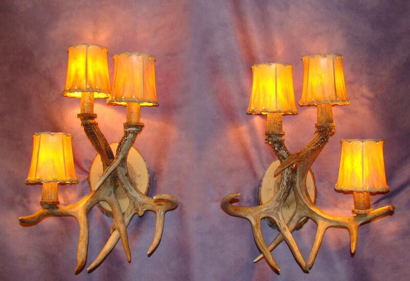 Real Antler Wall Sconce 3 Light Chandelier Deer Lamps Ebay
