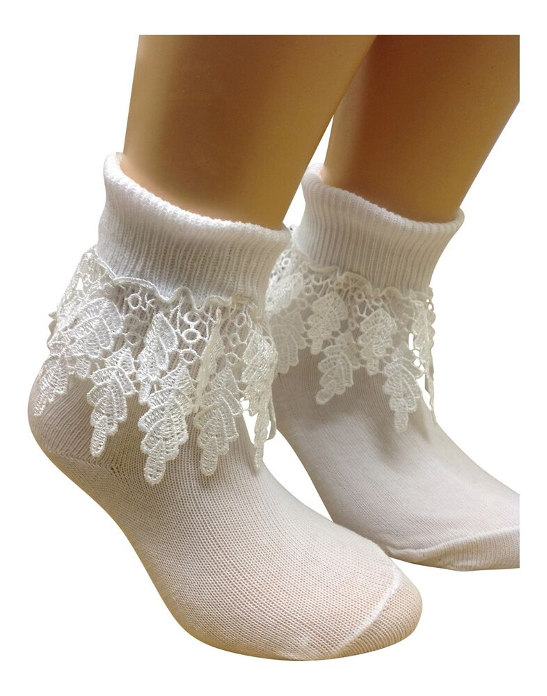2 Pair BABY GIRLS turn over top ankle socks WHITE DROP