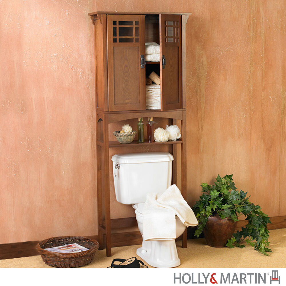 Connor bath spacesaver mission oak over toilet storage for Bathroom over the toilet shelf