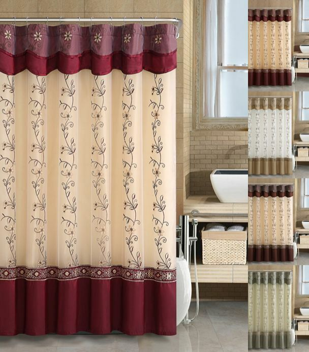 VCNY Daphne Embroidered Sheer & Taffeta Fabric Shower Curtain ...