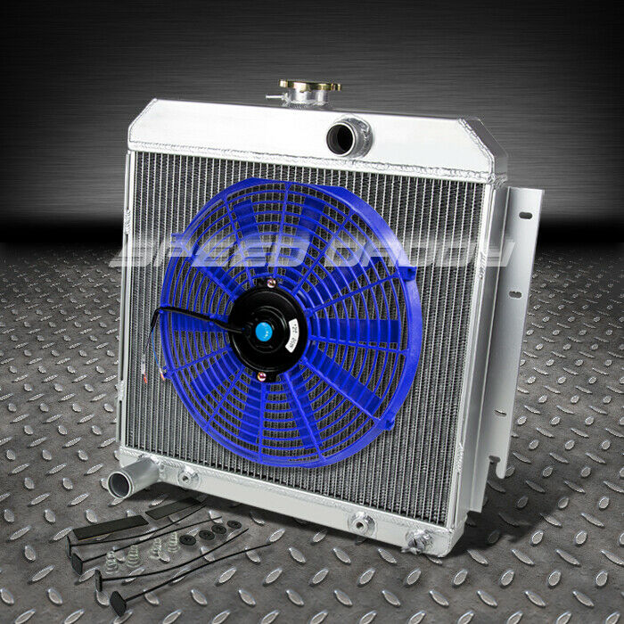 3 row aluminum racing radiator 14 blue fan 63 69 dodge. Black Bedroom Furniture Sets. Home Design Ideas