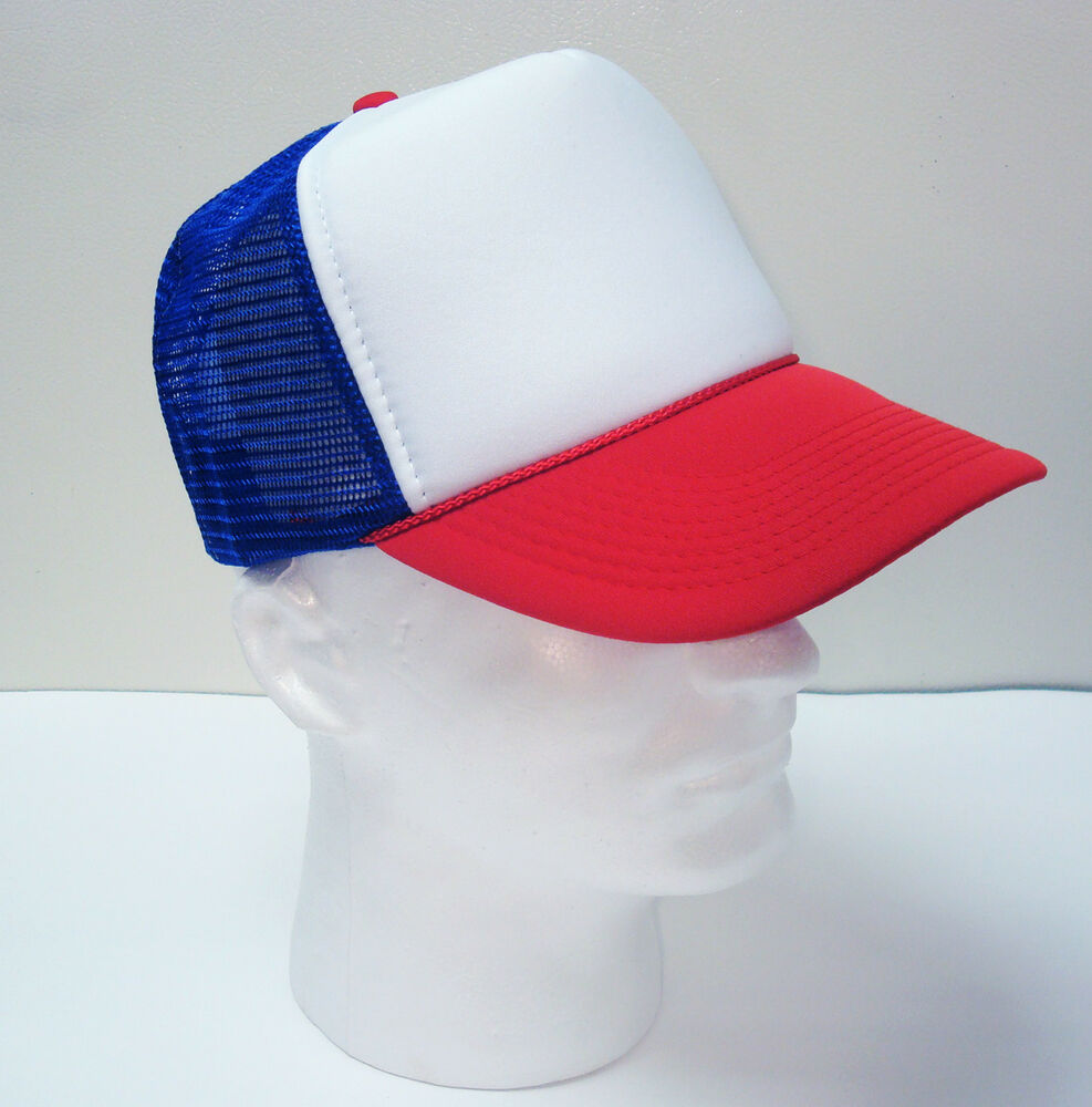 Red White Amp Blue 3 Tone Mesh Hat Trucker Cap Brand New
