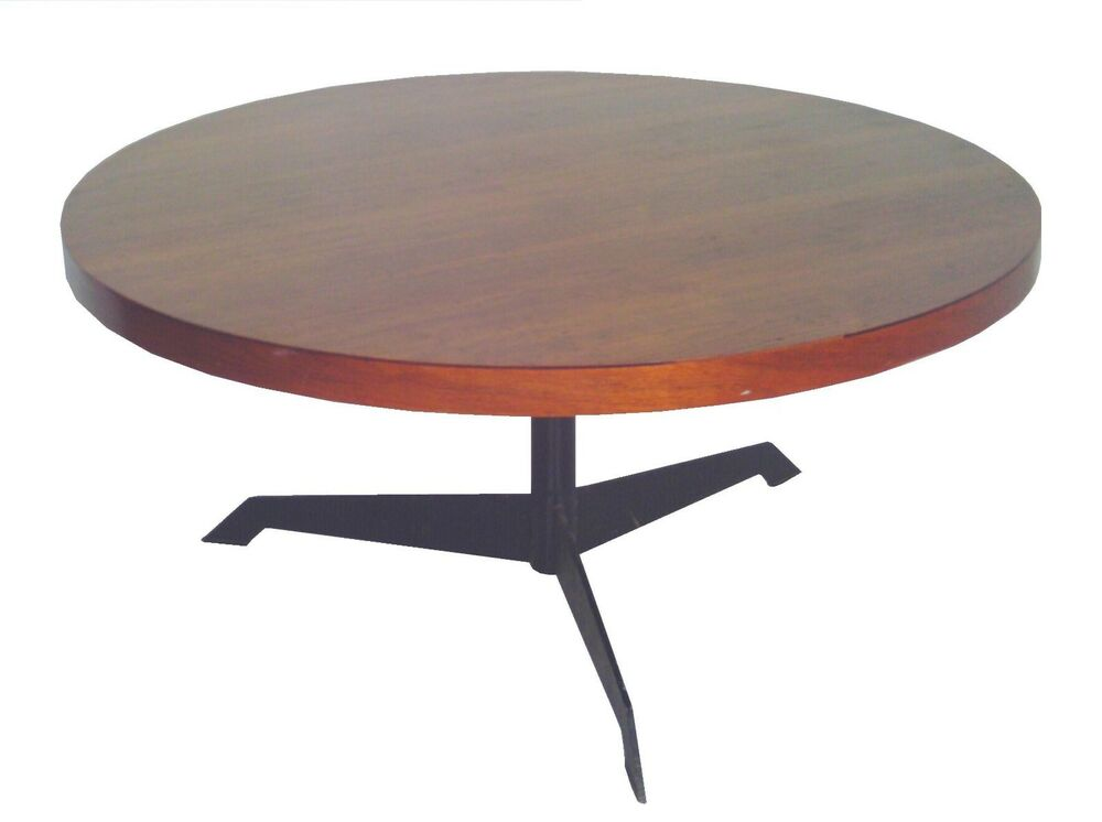 Convertible Round Walnut Steel Coffee Dining Table Mid Century Modern Eames Era Ebay
