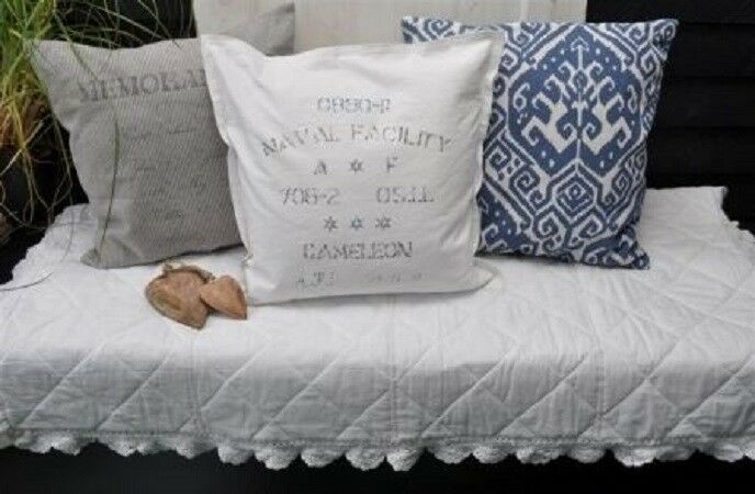 artefina kissenh lle deko kissen schriftzug ornament memorandum grau blau wei ebay. Black Bedroom Furniture Sets. Home Design Ideas