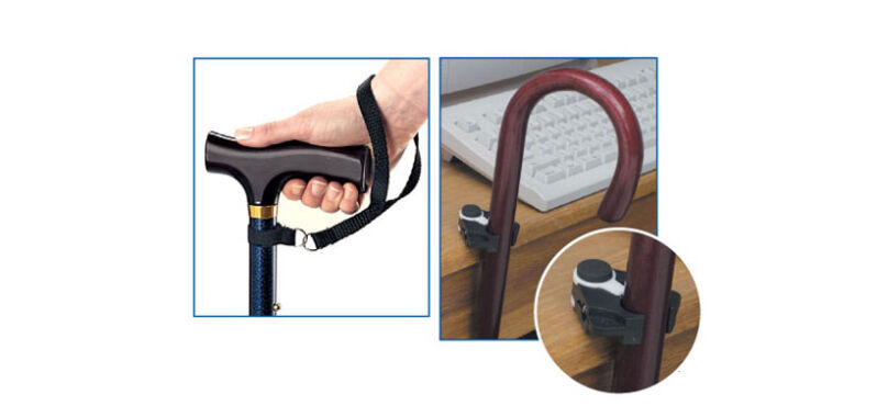 medical cane holder with wrist strap black