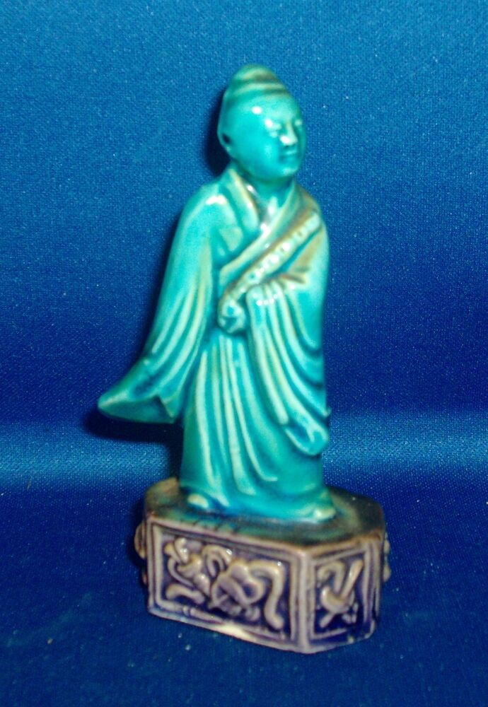 Antique Qing Chinese Porcelain Turquoise Glaze Immortal