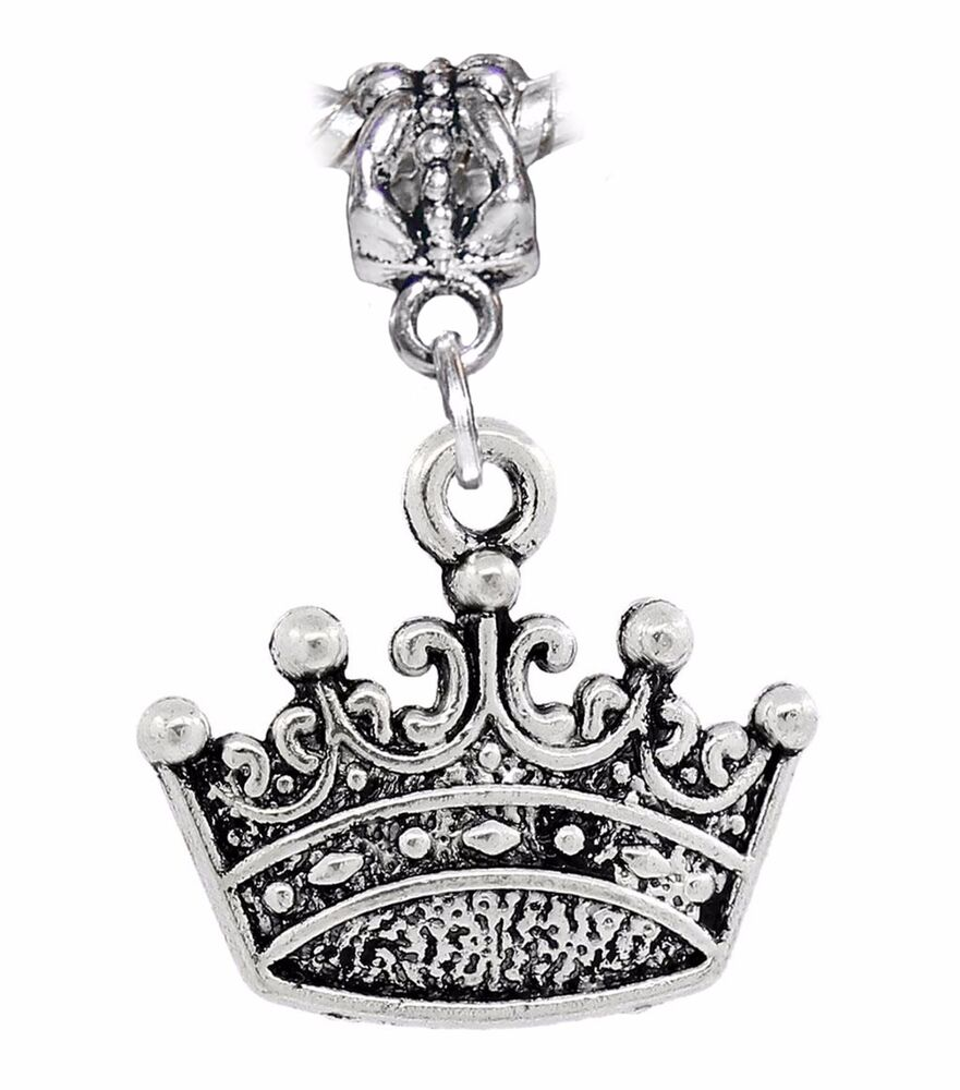 Crown Charm Bracelet: Crown Princess Queen Royalty Dangle Charm Gift For Silver