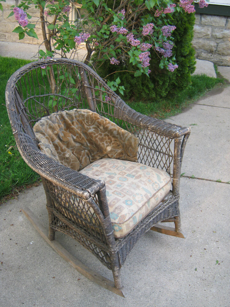 Antique Wicker Rocker Rocking Chair Original Cushions Patio Furniture | EBay