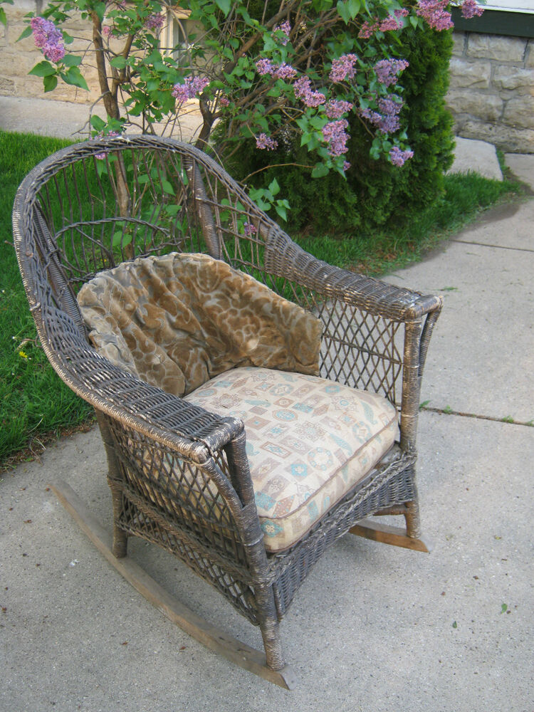 Antique Wicker Rocker Rocking Chair original cushions Patio Furniture - Antique Wicker Furniture EBay