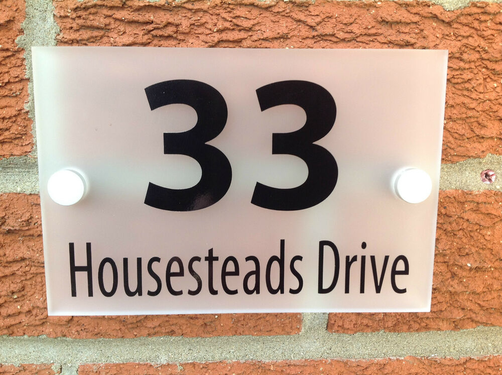 house number sign plaque quality 5mm frosted acrylic. Black Bedroom Furniture Sets. Home Design Ideas