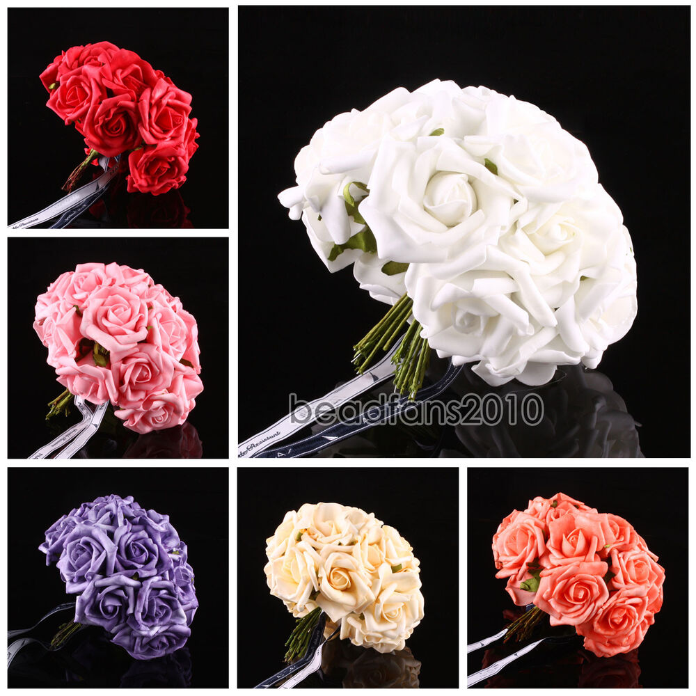10 100 head latex real touch artificial rose flowers for diy bouquets bridal ebay. Black Bedroom Furniture Sets. Home Design Ideas