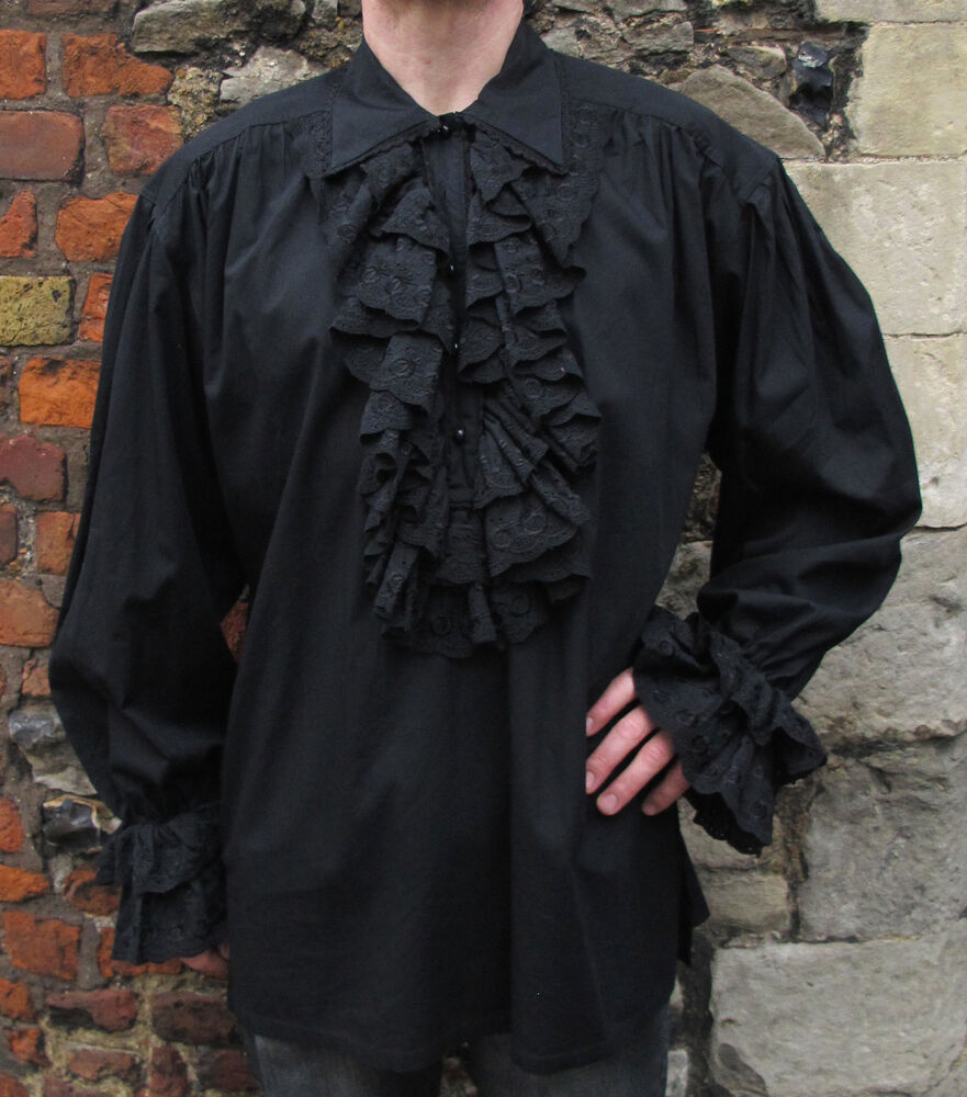 Mens black ruffle frill lace pirate vampire dress dinner for Frilly shirts for men