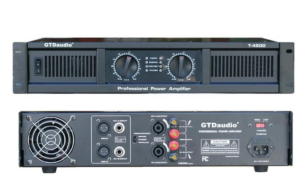 2 channel 4500 watts professional power amplifier amp stereo gtd audio t 4500 ebay. Black Bedroom Furniture Sets. Home Design Ideas