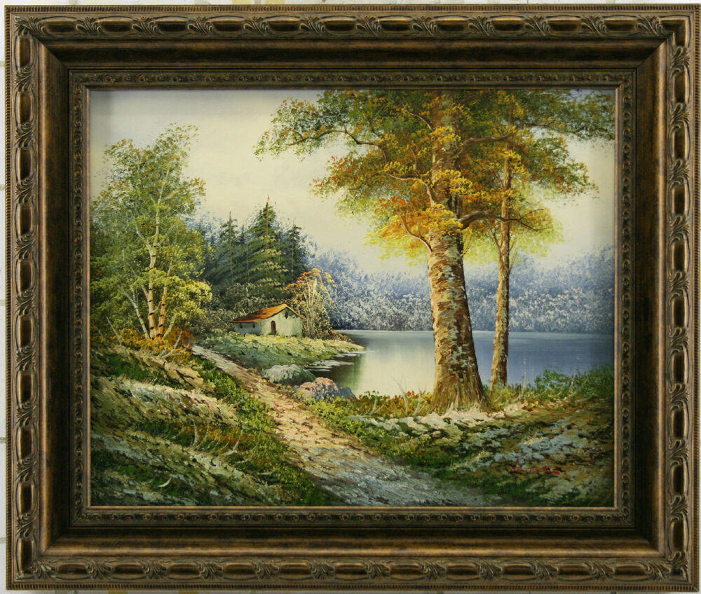 Landscape cabin house forest woods lake stream river art for Oil paintings for the home