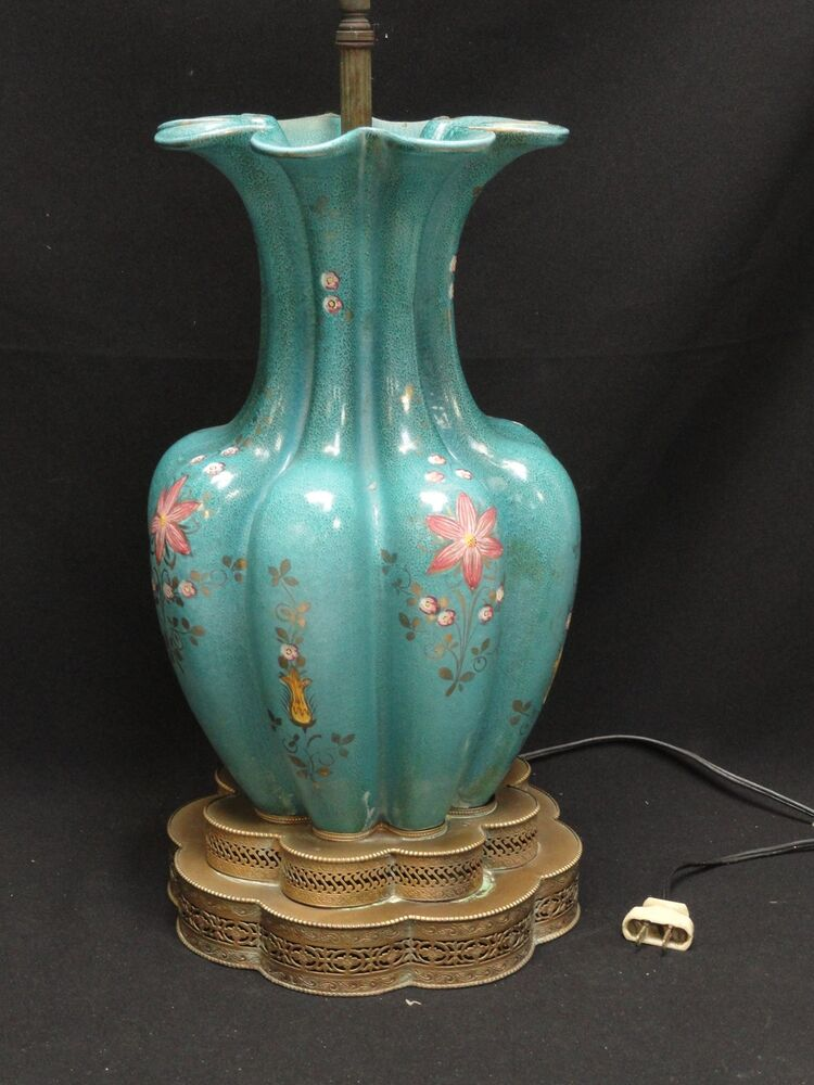 vintage ceramic lamps amazing antique early mid century painted floral 3169