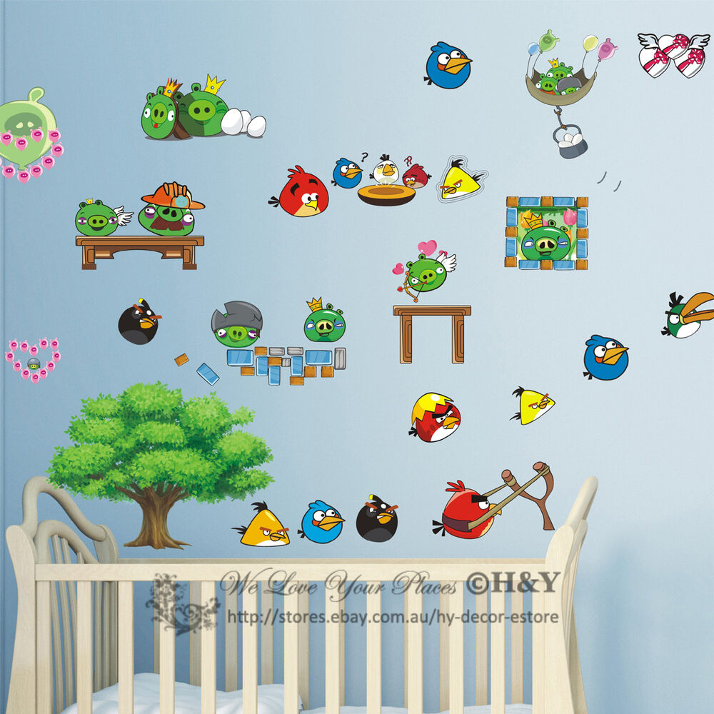 New large angry birds removable wall sticker vinyl decal for Angry bird wall mural