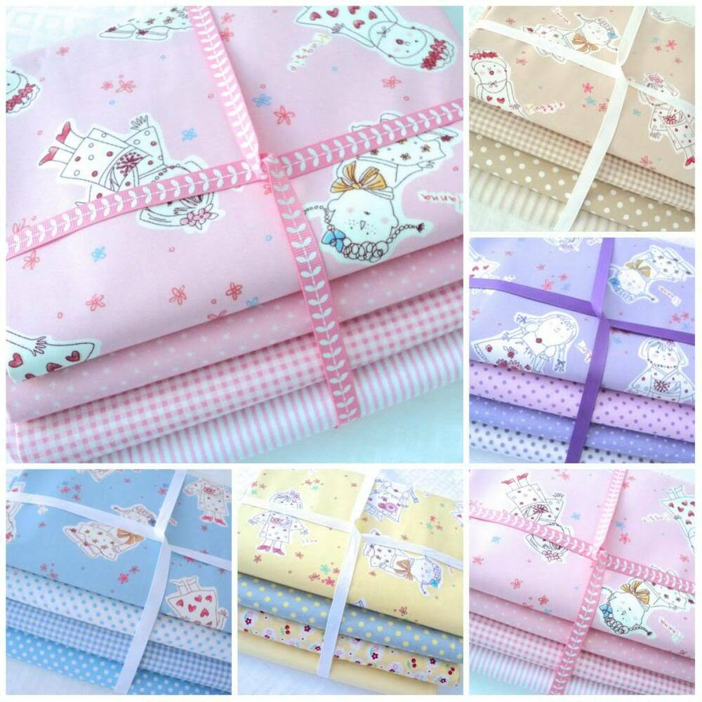 Bundles girls dolls faries 100 cotton fabric kids for Childrens fabric bundles