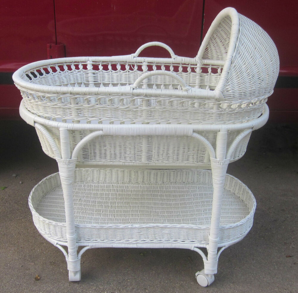Wicker Basket Bassinet : The pottery barn white wicker bassinet w removable moses