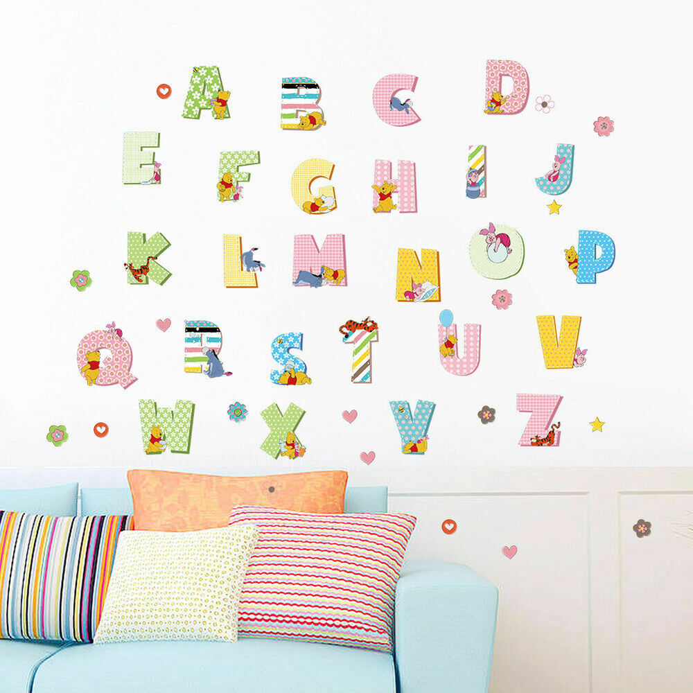 Winnie the pooh alphabets removable kids wall stickers for Decorative letters for kids room