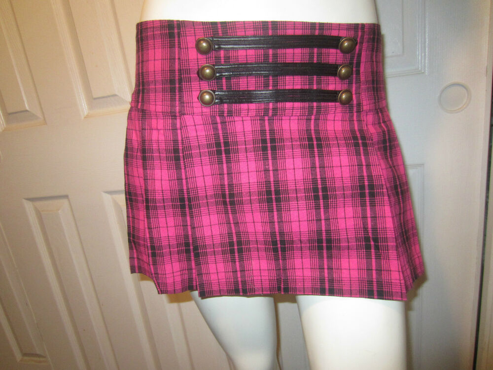 Hot Pink Plaid Skirt 10
