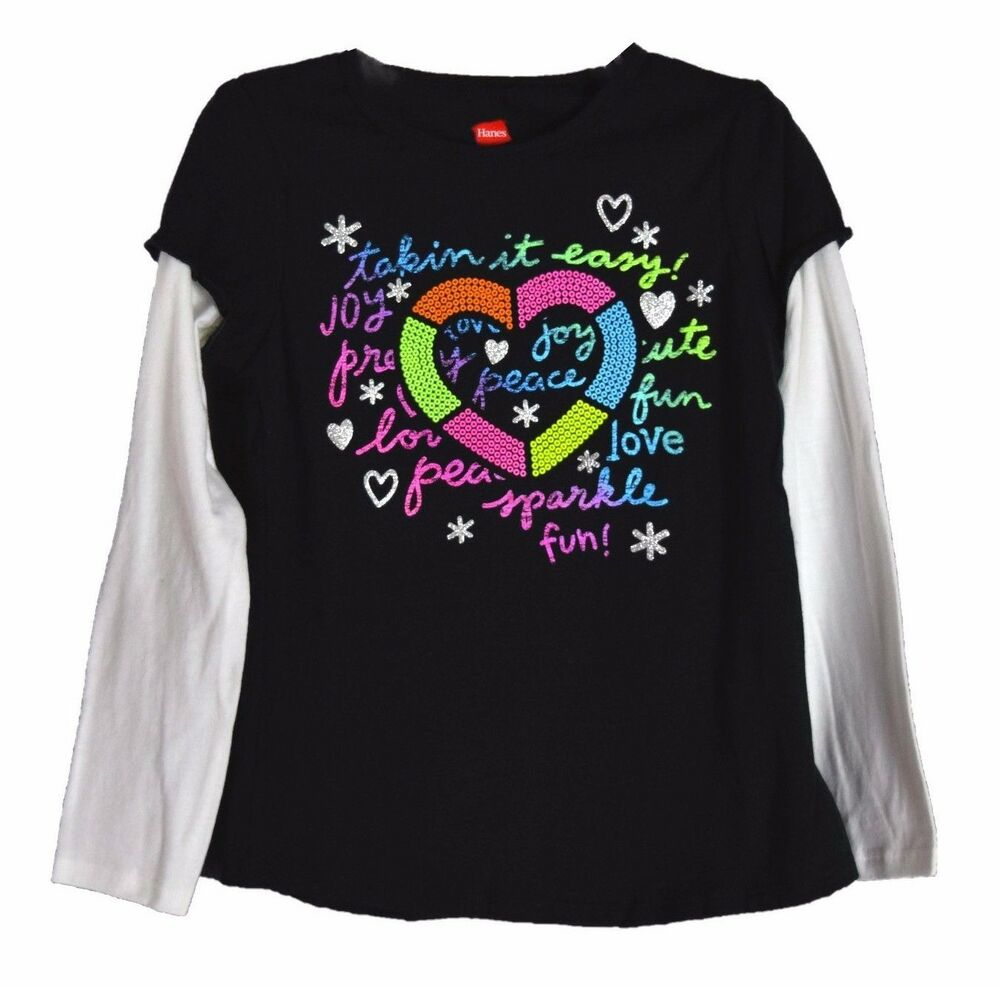 Hanes girls black graphic t shirt joy peace long sleeve for Best shirts for girls