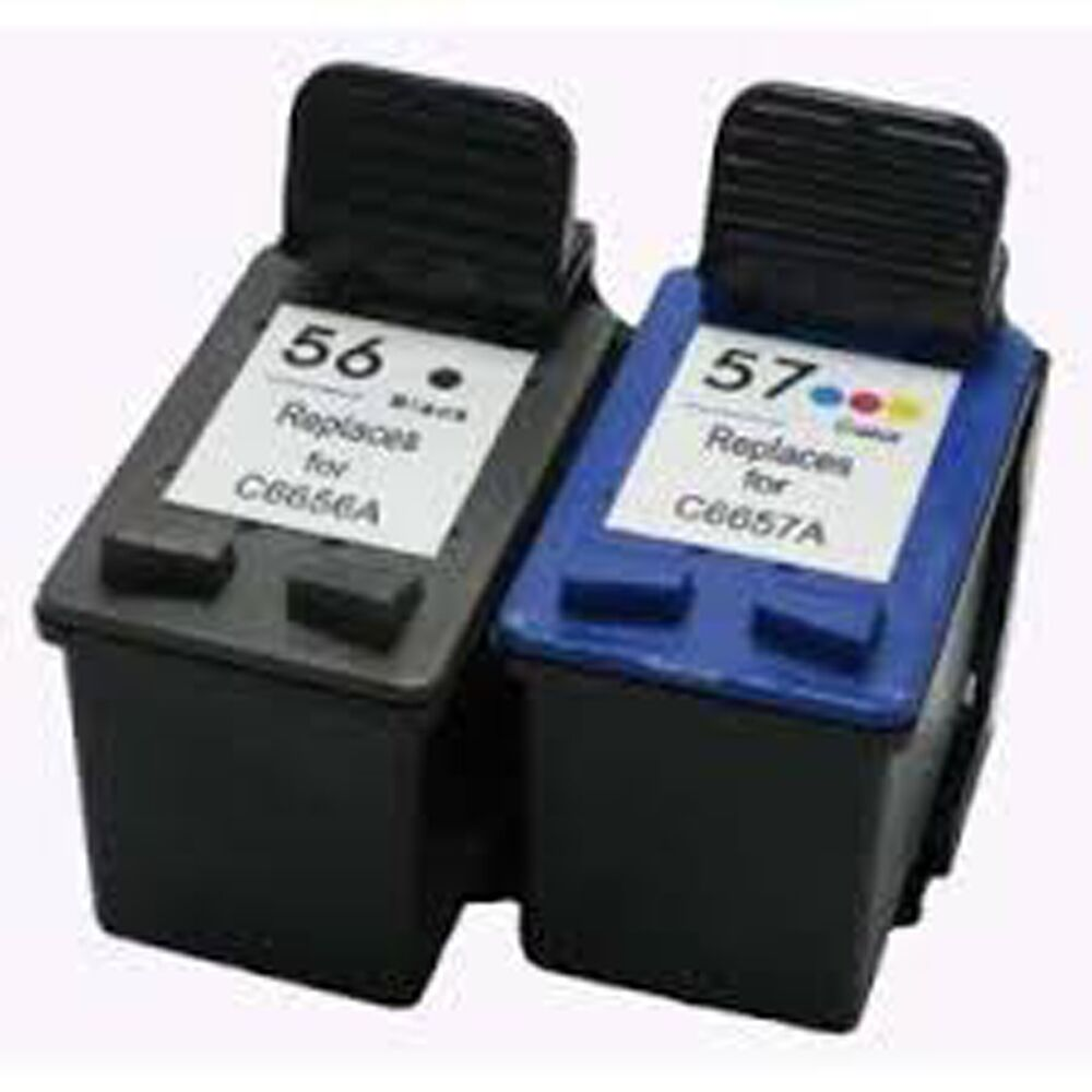 2x compatible ink cartridges for hp 56 c6656a black hp 57 c6657a color ebay. Black Bedroom Furniture Sets. Home Design Ideas