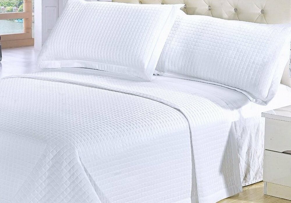 Modern Solid Pure White Coverlet Quilt Bedding Set Twin
