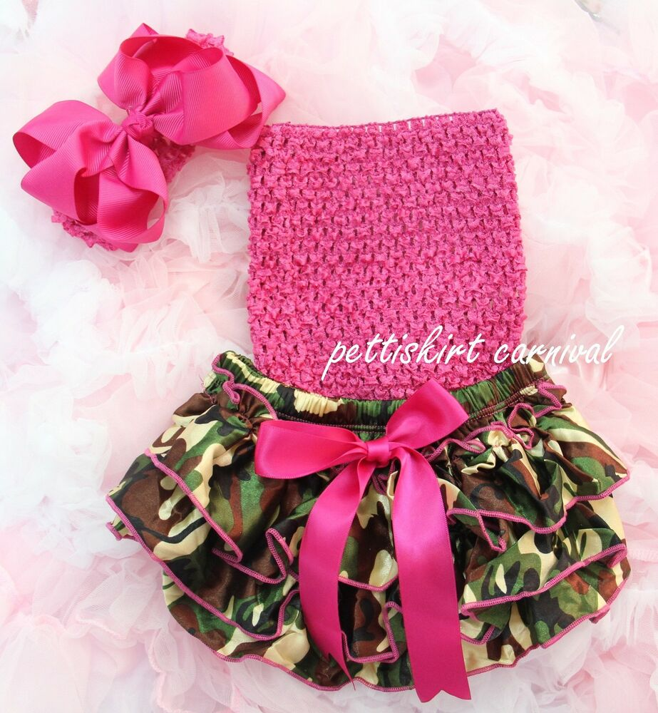 Newborn Baby Girls Camo Satin Bloomers Hot Pink Tube Top ...