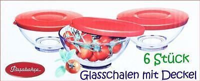 6er set glasschalen mit plastik deckel schalen glasschale dessertschale 10x4 5 ebay. Black Bedroom Furniture Sets. Home Design Ideas