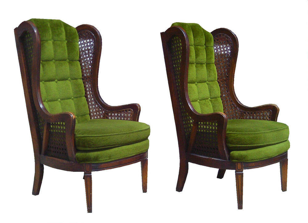 Pair Mid Century Modern 1970s High Back Wingback Cane Where To Furniture